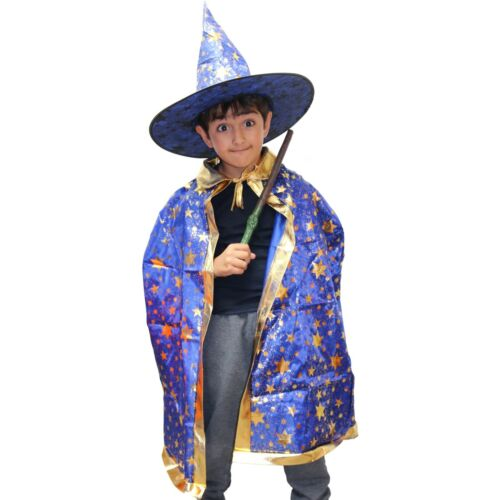 Hat /& Cape Kids Blue Wizard Halloween Fancy Dress Costume Girls Boys
