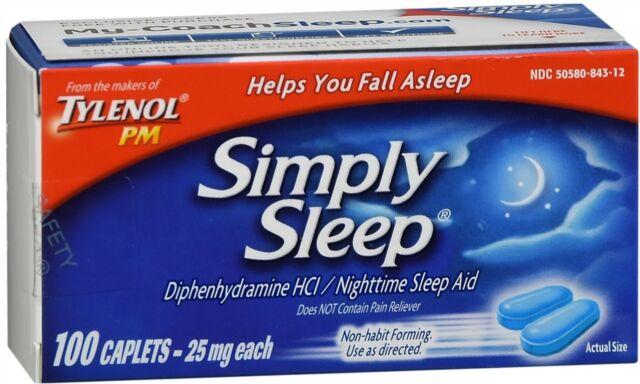 TYLENOL PM Simply Sleep Nighttime Aid 25 MG Diphenhydramine HCL 100 Caplets