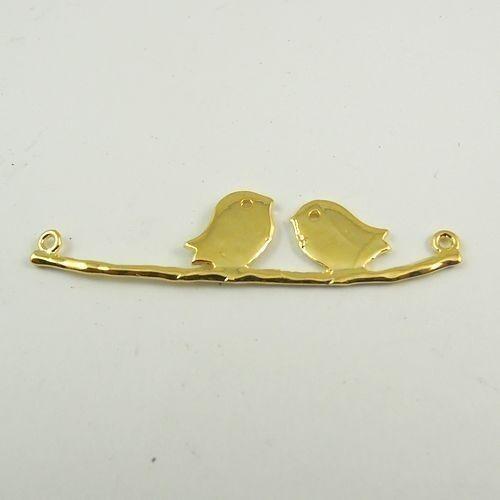 10pcs Antique Style Gold Tone Alloy Love Bird Branch Pendant Charms 44*10*2mm