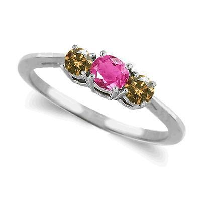 Three Stone Pink Sapphire and Champagne Diamond Ring 14k White or Yellow Gold