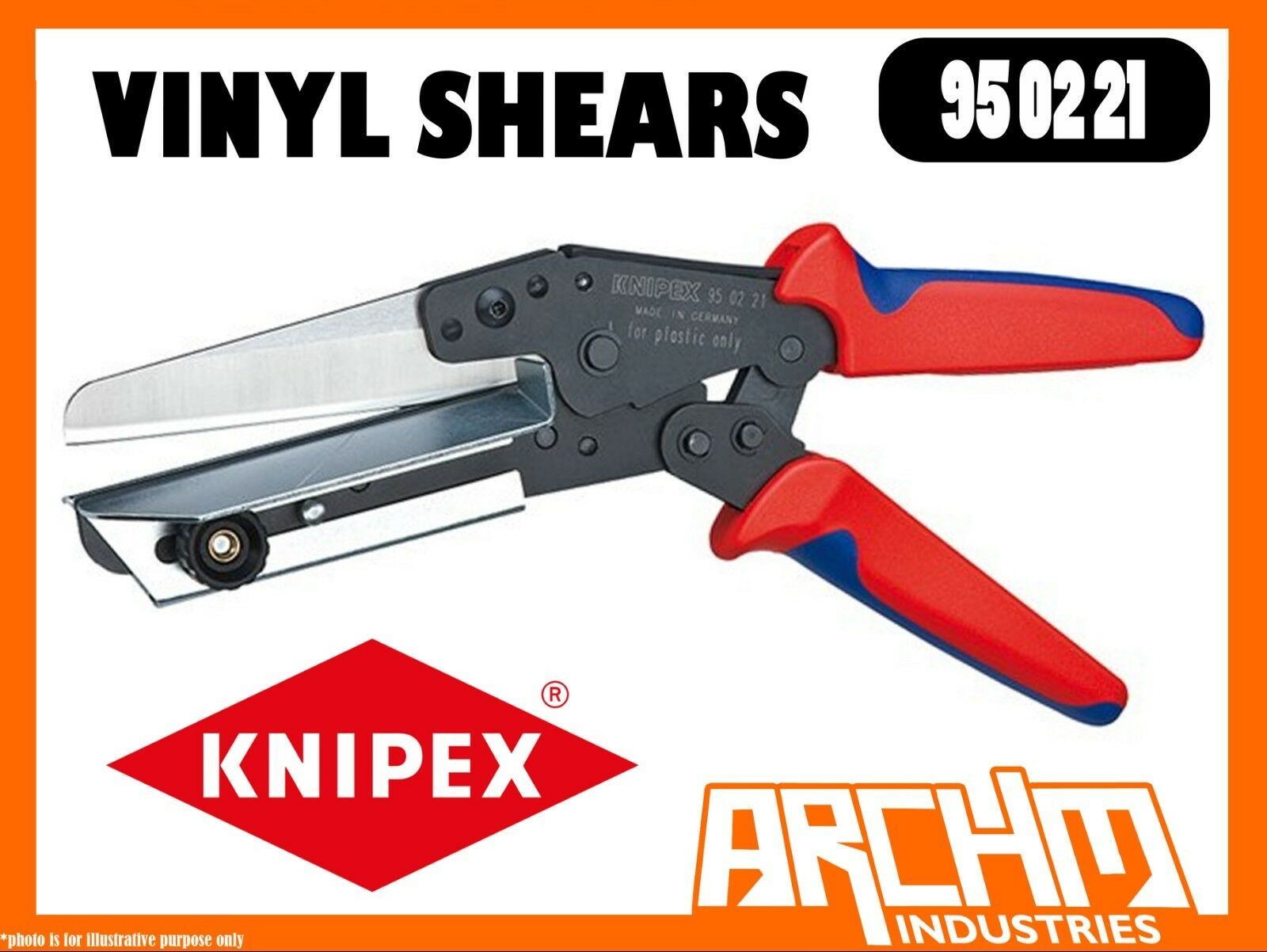 KNIPEX 950221 - VINYL SHEARS - 275MM CUTTING SHORTENING CABLE DUCTS CHROME STEEL