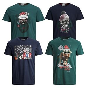 Jack-amp-Jones-Mens-Big-amp-Tall-Size-TShirts-Crew-Neck-Short-Sleeve-Christmas-Tee