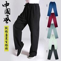 7373 Men's Cotton Shaolin Kung Fu Tai Chi Martial Arts Pants Wushu Trousers