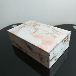 Pink-Marble-Effect-Jewellery-Box-Keepsake-Storage-Box-Glass-Bedside-Trinket-new