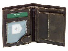 Visconti Mens Hunters Leather Wallet For Credit Cards & Banknotes - Oil Brown