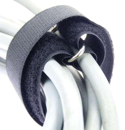 30x Kabelklett m Öse 300 x 25 mm schwarz Kabel Klettband Kabelbinder Klettbänder
