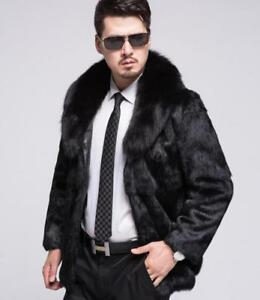 f2db4f1001539 Details about 100% Real Genuine Men's fur Jacket Rabbit Fur Coat With Fox  Fur collar clothing