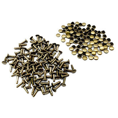 100 Sets 6x10mm Round Double Cap Rivets Leather Craft Stud DIY Tools Bronze