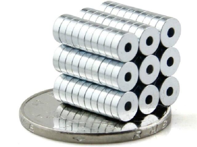 100pc N50 Round Neodymium Countersunk Ring Magnets 5x1.5mm Hole 1.5mm Rare Earth