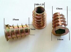 Qty 10 M8 19mm Wood Threaded Flange Insert Zinc Steel Alloy Inserts Allen Nuts