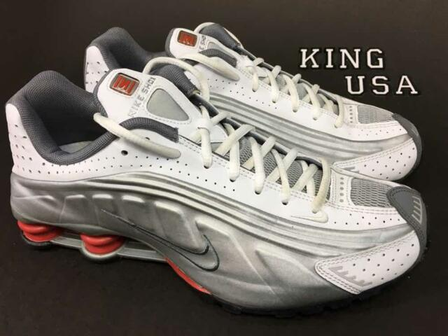 d4e42eefe36 Men s Nike Shox R4 Running Athletic Shoes 104265-126 White Red Silver Size  9.5