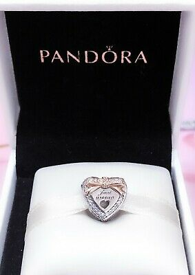 Authentic PANDORA 14k Gold Bow Wedding Heart Just Married Charm Pendant  792083C