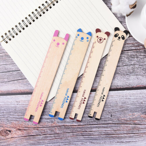 1X  Animal 15cm Wood Ruler Stationery Sewing Ruler Office School Accessories X