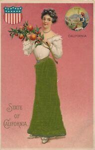 CALIFORNIA-CA-State-of-California-Silk-Covered-Postcard