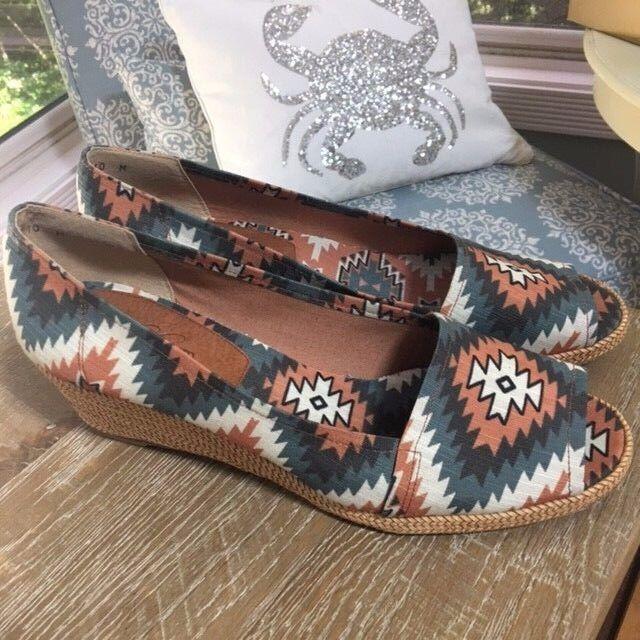 Stuart Weitzman Theodroa Callum Southwestern Espadrille Peep Wedge Sandals Sz 10