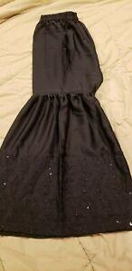 Pakistani-Indian-Women-039-s-Black-Embroidered-Silk-Gharara-Pants-Size-Small