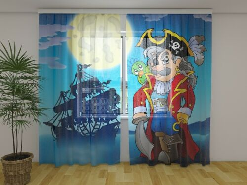 Kid/'s Room Curtain Pirate Wellmira Ready to Hang Home Decor