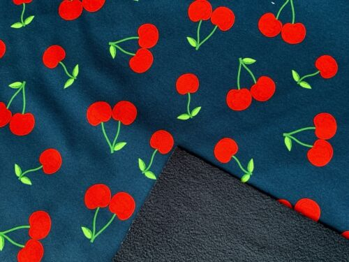 sold by metre fleece Cheries on soft-shell fabric winter coat fabric /'60/'