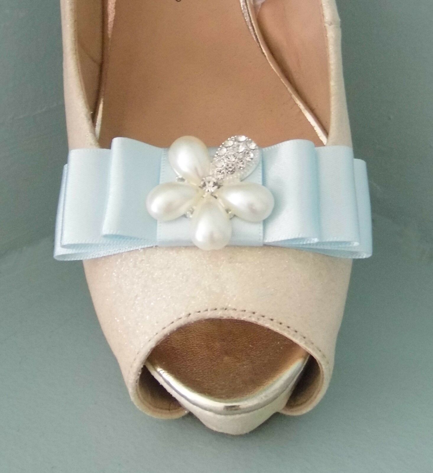 2 Baby Blue Satin Bow Clips for Shoes with Pearl & Diamante Flower Centre