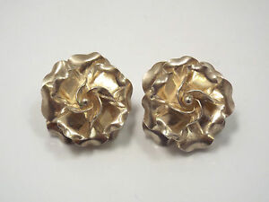 Vintage-Taxco-Mexico-Sterling-Silver-Large-Flower-Earrings