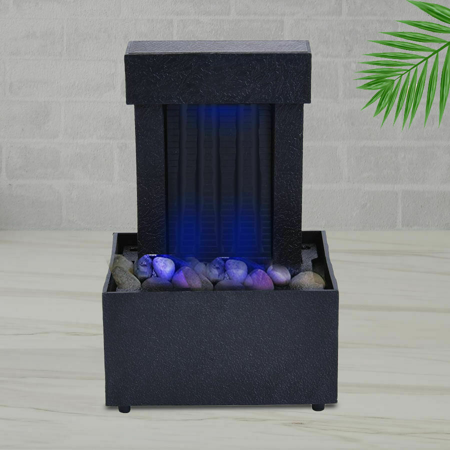 Mini Water Fountain with LED Light - Black Size - 11x9x17 cm