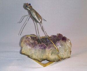 """Rare Sculpture """" Insecte """" En Laiton DorÉ Et Quartz Signée De Wam Grey ?"""