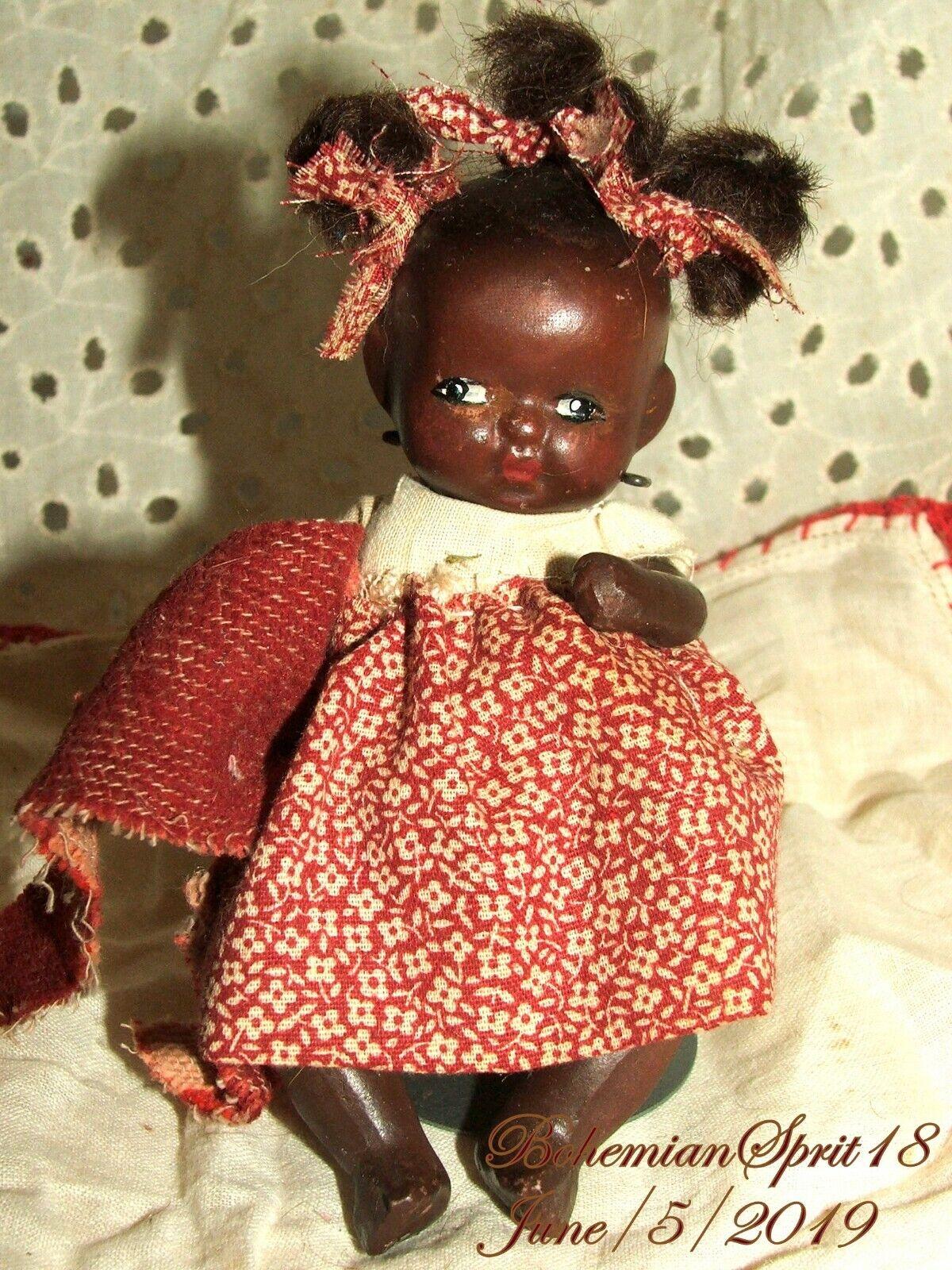 Antiguo años 30 firmadas Japón afroamericano Doble Articulado Biscuit 4  Girl Doll
