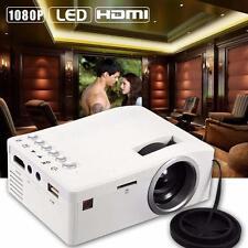 Portable Mini LED Projector Cinema Theater Laptop VGA USB SD AV HDMI White EU WT