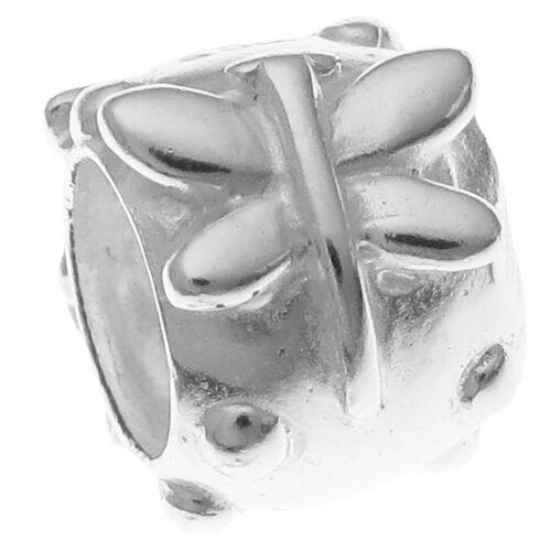 Sterling Silver Dragonfly Flower Dot Tube  Bead for European Charm Bracelets