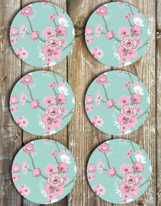 Cherry-Blossom-Drink-Coasters-Set-of-6-Non-Slip-Neoprene
