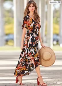 Together Kleid eingefassten Saum Palm Print Kurzarm braun schwarz Größe 18