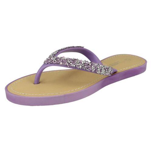 Savannah F0R806 Ladies Purple Toe Post Flip Flops R29B