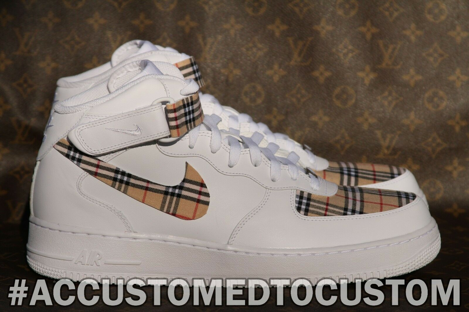 NIKE AIR FORCE 1 MID | MADE W/ BURRBERRY PLAID STYLE FABRIC CUSTOM Not Jordan