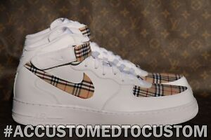 buy popular 76568 f5006 NIKE AIR FORCE 1 MID | MADE W/ BURRBERRY PLAID STYLE FABRIC CUSTOM ...