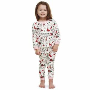 Mud Pie Very Merry Christmas Print Girls 2 Pc Pajamas Pink Trim ... 6573d9442