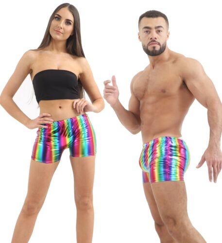 Unisex 80/'s Shiny Metallic Rainbow Gay Pride Disco Festival Fancy Dress Hot Pant