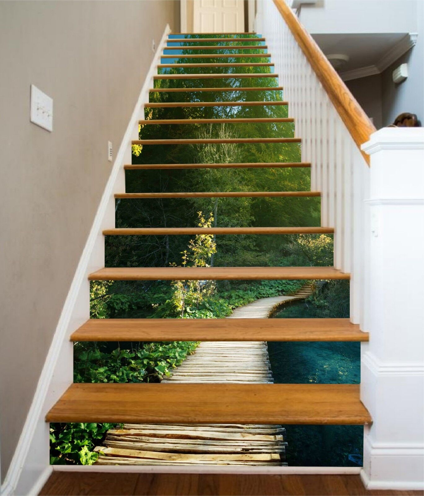 3D Green Trees Road Stair Risers Decoration Photo Mural Vinyl Decal Wallpaper US
