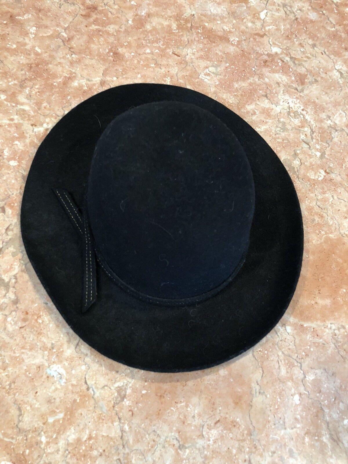 "LADY DIANA BLACK HAT SIZE 54 31/2"" Sombrero de lu… - image 2"