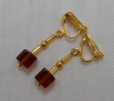 Hand made short clip on earrings gold plated amber colour cube glass beads