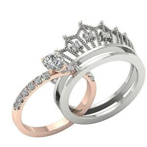 image is loading 1 15ct bridal anniversary crown wedding ring genuine - Crown Wedding Rings