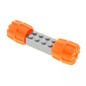 1-x-Lego-System-Rad-Achse-neu-hell-grau-Hartplastik-Raeder-orange-klein-22mm-D-x