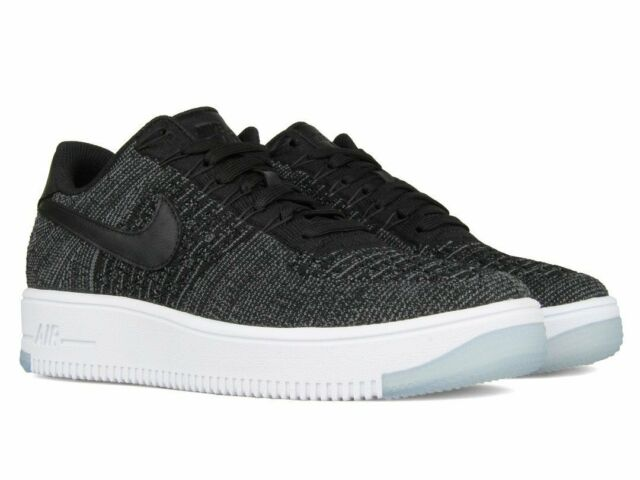 46cda4095545 Nike Womens AF1 Air Force 1 Flyknit Low Black   White 820256 001 Size 5