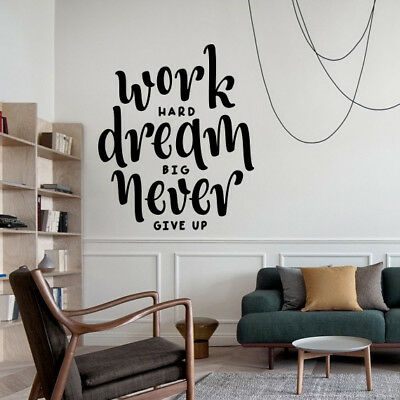 Work Hard Wall Sticker Quotes Wall Art Stickers Bedroom Wall Decals | eBay