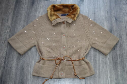 Ladies Jacket Cardigan 38 Lambswool Angora Woods M River Brown Cardigan Nuovo UB7q5xwP