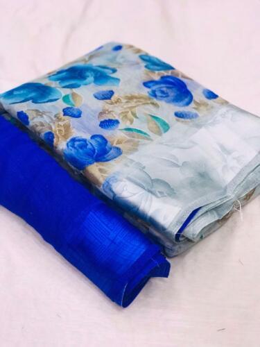 Designer Saree Indian Bridal Wear Linen Silk Saree Floral Print Sari Wedding New