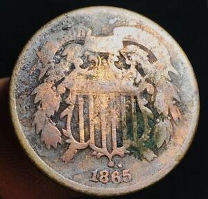 1865-US-Two-Cent-Piece-2C-Details-Civil-War-Era-Good-Date-US-Copper-Coin-CC3192