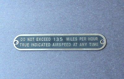 Aeronca Style 7AC Champ Max Airspeed Placard DO NOT EXCEED 129