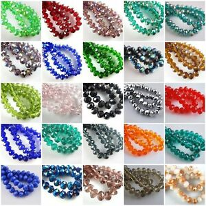 50pcs-80pcs-Rondelle-Crystal-Glass-Loose-Spacer-Beads-Jewelry-Making-Findings