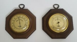 Vintage Verichron Set Barometer & Thermometer Pair Weather Instruments