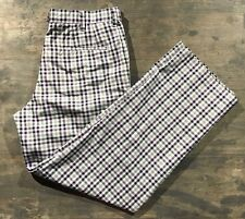 Men's IZOD Perform X Plaid Check Golf Pants Purple Black White 34x32
